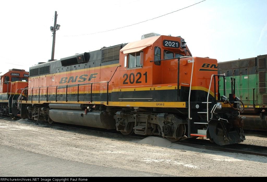 BNSF 2021, GP38-2, NRE rebuild from GP40, sits at Eola Yard