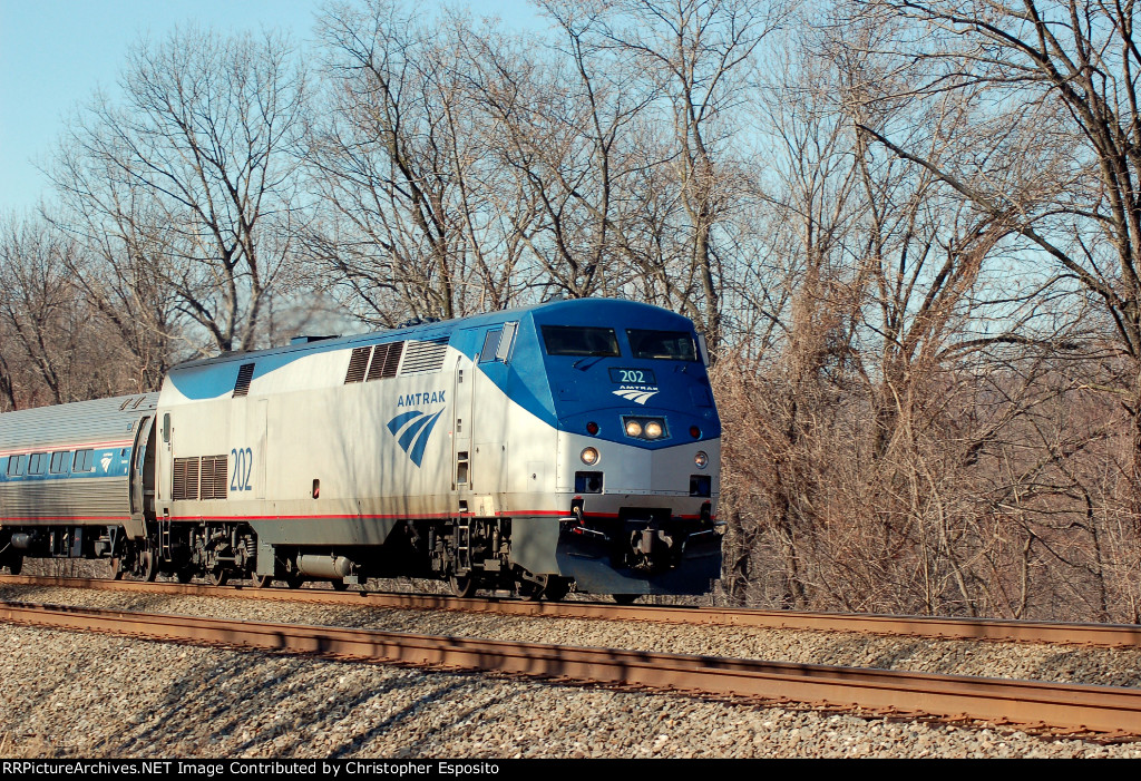 Amtrak P42 202 leads the eastbound Pennsylvanian