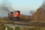 CN 2675 Heads east off Clover Bar Bridge toward Clover Bar Yard