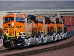 BNSF 6888, BNSF 6885, BNSF 6887, and BNSF 6886 close in shot as they Lead the S LPC-LAC on Their First Revenue Run West :)))