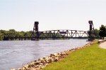 Milwaukee Road lift bridge from a distance.