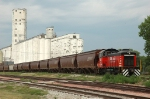 OL&B 47, EMD SW1200 re-engined CAT, works the a grain elevator