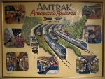 Painting of Amtrak Anniversary artwork onboard the Exhibit Train