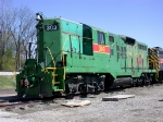 IAIS 303, EMD GP-9, still green but wearing IAIS stripe and number