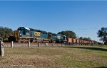 Another ballast train, W067 heads north through Folkston