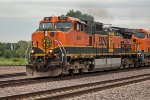 BNSF 991, GE C44-9W, sporting mis-matched hood doors following an engine fire,
