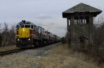 DL 2452 passing former Gouldsboro interlocking tower eastbound on the Ex-Lackawanna mainline