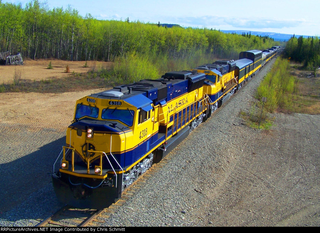 ARR 4318 and 4324 leading the northbound Aurora just south of Clear, AK