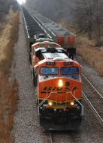 BNSF 5761, ES44AC, leads an EMD MAC with eastbound coal loads