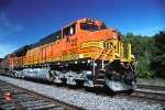 BNSF 7722, GE ES44DC (GEVO), leads an Eastbound Intermodel stack train on the BNSF