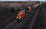 BNSF 7796 and 5824, two GEVO's, one ES44DC and one ES44AC locomotives are westbound with empties