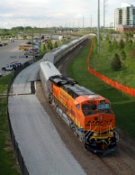BNSF 7843, ES44DC, leads the BNSF Business Train at the Qwest Center for new owner Warren Buffett's Berkshire Hathaway annual stockholders meeting