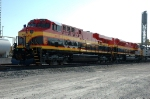 KCSM 4679, GE ES44AC, with KCS 3997, EMD SD70ACe, being serviced at KCSs Knoche Yard