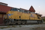 UP 5522, GE C45ACCTE, (GEVO), sits idle in front of the ex Rock Island Depot,