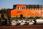 BNSF 6901 Heads east as the Sun Reflects off Her Very Brand New Swoosh Logo!!!