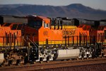BNSF 6901 passes me into the rising sun as she rolls into the BNSF Barstow Yard for crew channge.