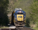 CSX 8593 has just exited Fellows Tunnel on the W&LE main