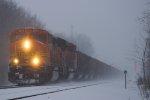 BNSF 9994 leads a Coal train though heavy snow