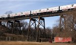 RBBX animal cars on Cotton Mill trestle en route to Burkeville and Richmond, VA