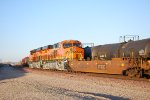BNSF 6861 Reflects the morning sun off her Very Brand New Swoosh BNSF Logo!!!