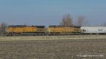 UP 6734 & UP 5712 Leading a southbound between Thayer and Virden Illinois