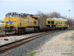 7464 leads one of the UPs new Plasser American universal track inspection vehicles
