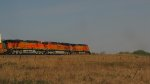 BNSF 7473 is 2nd out on this stack leaning hard into a cuvre.