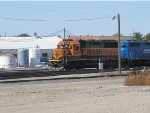 BNSF 3196 works the yard at dodge city.