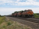 BNSF 7414 heads a wb stack toward Okla