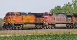 BNSF 4115 heads a wb stack train.