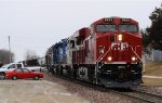 Eastbound CP Freight Makes a Quick Stop