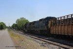 Southbound empty tie train passes milepost 134