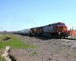 BNSF 4717  5Mar2012  SB w/Hoppers Approaching FM3407 (Wonder World Drive)