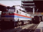 New Amtrak E60 and old MP54 share tracks as Union Station in 1977