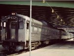 B&O RDC-1 #9915 lead long string of Budd cars in Washington commuter service - 1977