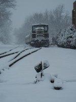 CHS Dinner Train on runby track awaiting next run in snow storm