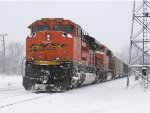 BNSF 9347 & 6317 lead E945-13 into Wyoming Yard for a crew change