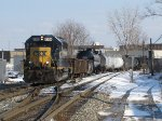 CSX 6399 leads Y106 back from working east of town