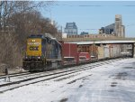 CSX 2666 puts everything it has to the rails as D707-13 starts east