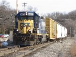 CSX 6072 rolls over the switch at Seymour as it heads back to the yard with Y106