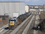 Just clear of Godfrey, CSX 6072 leads Y106 back towards the yard