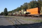 south bound mow train meets intermodal  9:1o am