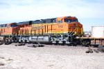 BNSF 6926 with BNSF 6688 push the S LAC-CLO into the BNSF Barstow yard for a crew change.