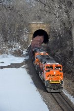 Eastbound all-rail taconite train exits tunnel