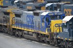 CSX 7622 stands out amid a backdrop of YN3 painted power at Selkirk Yard