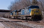 CSX U836 comes to a stop at St Denis awaiting a signal