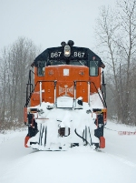 BLE 867 shows the signs of plowing through the snow