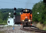 "B&LE 867 and train come off the siding at ""RX"" interlocking"