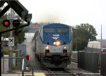 AMTK 90 blasts through the station with the northbound Coast Starlight