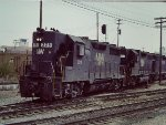 NW GP35 229 leads freight at Muncie, IN - 1980